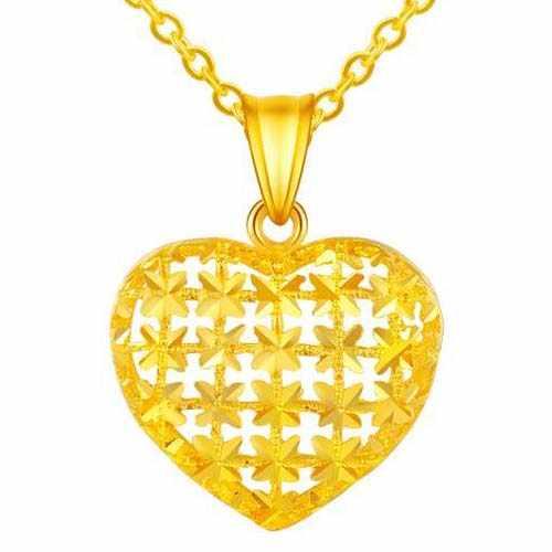 黄金行业激光切割机切割心形吊坠样品展示