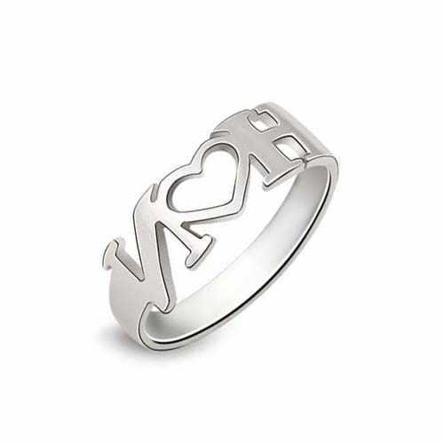 纯银行业激光切割机切割镂空LOVE戒指样品展示