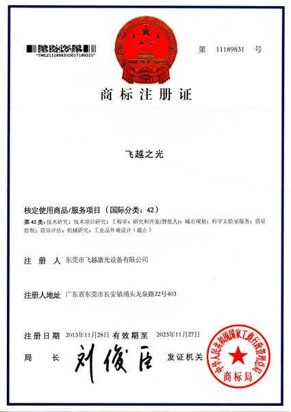 飞越之光商标注册证书(二)