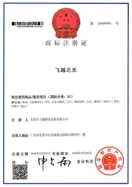 飞越之光商标注册证书(八)